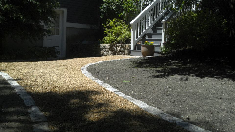 Pea Stone Walkway With Cobblestone Edging Landscaping North Andover Andover Boxford Ma Southern Nh
