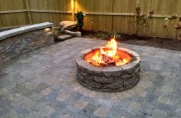 Patio with Sitting Wall, Fire Pit & Landscape Lighting- North Andover, MA