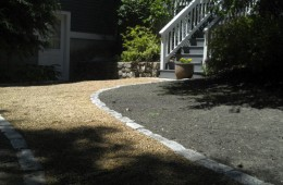Pea Stone walkway with Cobblestone Edging